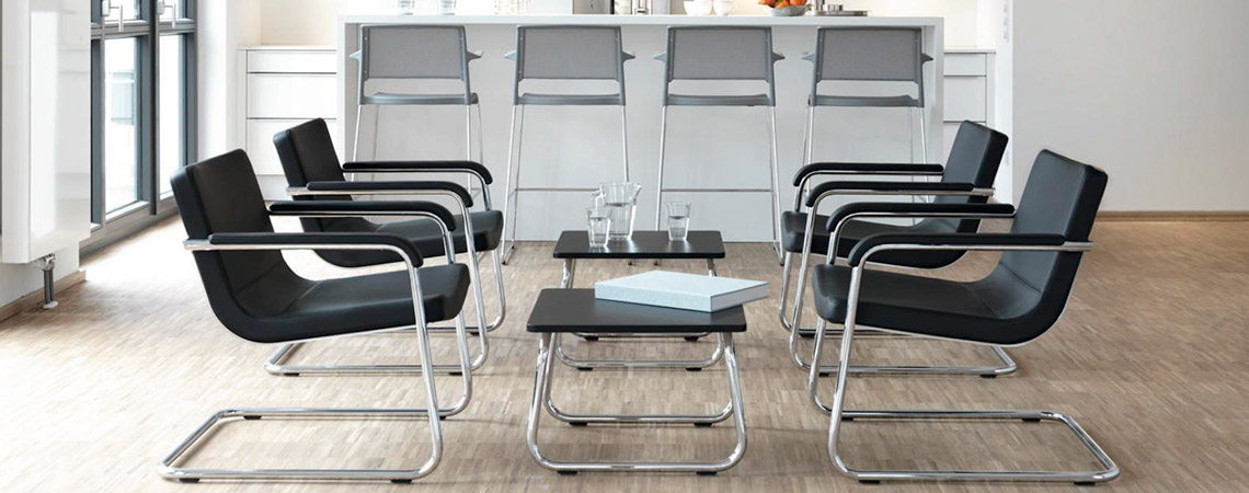 Freischwinger-Sessel Cura / Lounge Chair / Tisch / Büromöbel